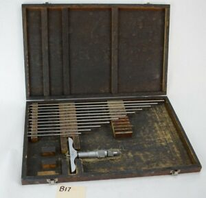 Fowler 0 12 Depth Micrometer 001 Wooden Box 52 225 035 0 12
