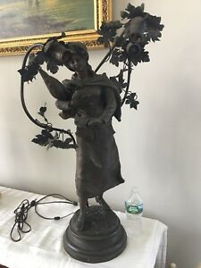 Antique Art Nouveau Bronze Spelter French Figural Newel Post Lamp 32