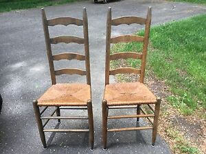 Antique Vintage Pair Ladder Back Rush Seat 4 Slat Chair Chairs Primitive Rustic