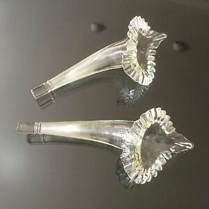 Antique Glass Clear Epergne Horn Trumpet Pair Wall Vase Bud Vase