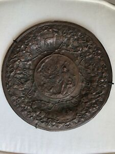 Antique Copper Or Bronze Repousse Charger Plate Native Indians Settlers Animals