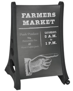 Black Double Sided 24 X 36 Write on Outdoor Pavement Sign W Fillable Base