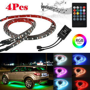 4pcs 15 Color Led Strip Under Car Tube Underglow Underbody System Neon Light Kit