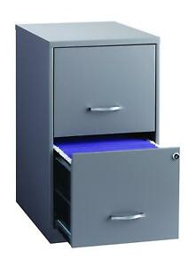 Office Dimensions 18 Deep 2 Drawer Metal File Cabinet Gray