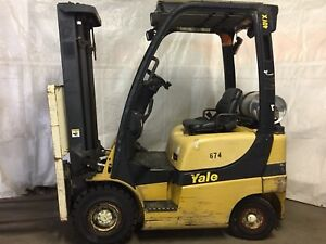 2007 Yale 4000 Forklift Solid Pneumatic Tires 2 Stage Lp Glp040
