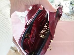 Franklin Covey Compact Red Cranberry Handles Briefcase Purse Binder