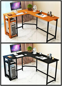 J m L shape Computer Desk Pc Laptop Table Workstation Home Office wood steel