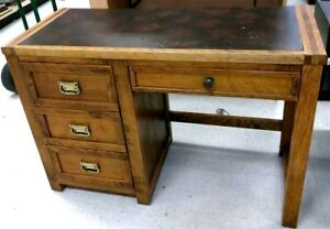 Vintage Young Hinkle Oak Leather Top Desk Outrigger Collection