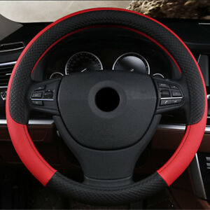 Pu Leather Universal Car Steering Wheel Cover 38cm Red Anti Slip Accessories 1x