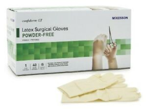 Mckesson Confiderm Lt Latex Powder Free Bisque Surgical Glove Ivory Beaded Cuff