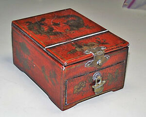 Unusual Japanese Red Lacquer Gold Painted Dragons Jewelry Box Mirror