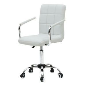 Executive Mid back Chair Home Office Adjustable Height Desk Seat Swivel White