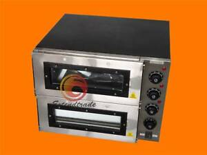 16 Double Deck Electric Pizza Oven Commercial Ceramic Stone 3000w 110v New