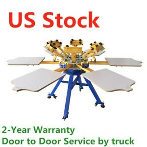 6 Color 6 Station Silk Screen Printing Press Printer Machine Carousel Us Stock