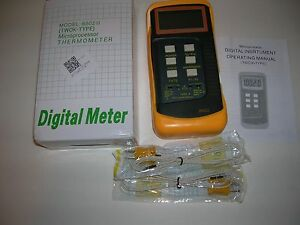Dual Temperature Digital Thermometer Meter 1 t1 t2 k type Probe Sensors new