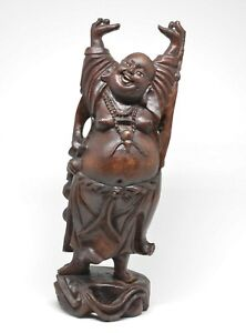 Antique Chinese Carved Budai Figurine 9 5 Inches Tall