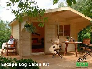 Bzb Escape Log Cabin Kit 12 x9 inside 113 Sqf 1 3 4 Logs Free Shipping