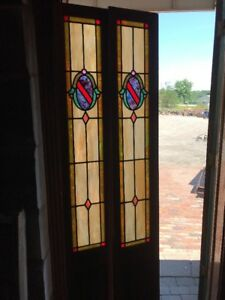 Sg 2358 Match Pair Antique Stained Glass Sidelight Windows 11 5 X 80 5