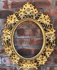 Gorgeous C1890 Oval Italian Gold Gilded Florentine Picture Frame For 12 X 10