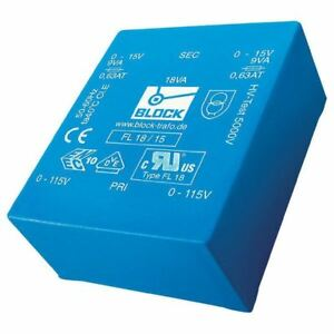 Block Fl 30 15 30 Va Low Profile Pcb Transformer 2 X 115 V To 2 X 15 V