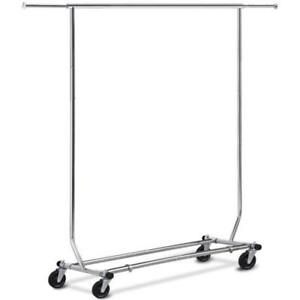 Clothing Racks Display Storage Folding Rolling Adjustable Garment Salesman Rack