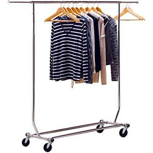 Clothing Racks Display Folding Rolling Adjustable Garment Salesman 2 Rail Rack