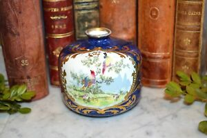 Antique Crescent And Sons England Porcelain Wild Birds Small Vase Blue Gold