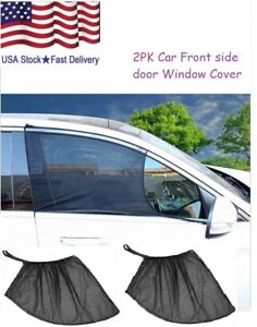 1pair 2pcs Car Front Side Window Sun Visor Shade Sunshade Uv Protector Cover