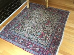 Antique Vintage Hand Knotted Woven Worn Wool Oriental Persian Area Rug