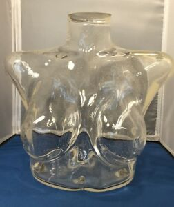 Womens Clear Lucite Plastic Chest Bust Clear Form Art Piece Or Display