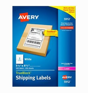 New Avery Internet Shipping Labels 5 1 2 X 8 1 2 Laser Box Of 500 5912