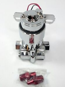 Chrome Electronic Fuel Pump Red Fittings 7psi 100 Gph Carburetor