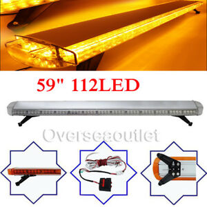 59 112led Emergency Beacon Warn Tow Truck Plow Response Strobe Light Bar Amber