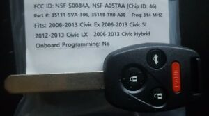 2006 2013 Honda Civic Remote Key Cut To Your Code 06 07 08 09 10 11 12 13