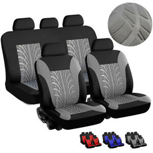 Universal Full Set Front rear Seat Car Styling Seat Cover Gray Black Tire Track