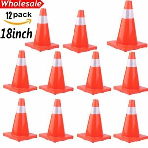 12 X 18 Red Wide Body Road Safety Cones Construction Traffic Sports Pvc Cone Bt