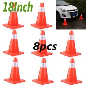 8pcs 18 Road Traffic Cones Reflective Overlap Parking Emergency Safety Cone Bt