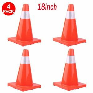 4 New 18 Red Wide Body Road Safety Cones Construction Traffic Sports Pvc Cone B