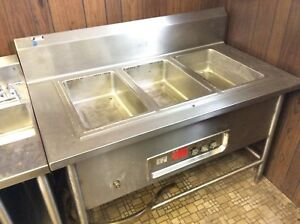 3 well Electric Steam Table 220v With Drain Line Runs Great