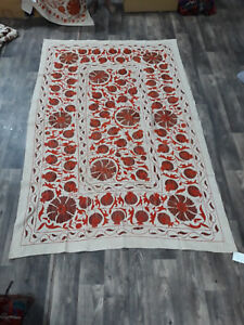 Vintage Suzani Hand Embroidered Quilt Twin Bedding Blanket Bohemian Throw