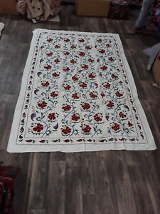Hand Embroidered Suzani Quilt Twin Bedding Vintage Blanket Bohemian Throw 1314