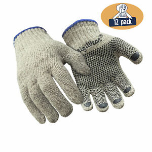 Refrigiwear Warm Ragg Wool Pvc Dot Grip Work Gloves Beige Brown 12 Pairs