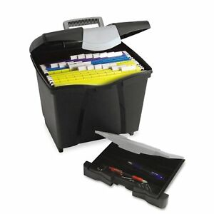 Storex Portable File Storage Box With Drawer Latch Lid Letter Size Black