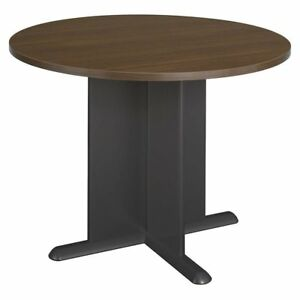 Round Office Conference Table In Sienna Walnut Finish sienna Walnut