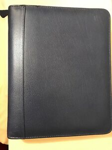 Franklin Quest 1 5 Rings Full Grain Leather Navy Blue Zip Planner Binder Covey