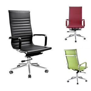 Office Chair Executive Pu Leather Swivel Ribbed High Back Adjustable Desk Seat