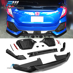 Fits 17 18 Honda Civic Hatchback Type R Rear Bumper Cover Conversion Kit W o Tip