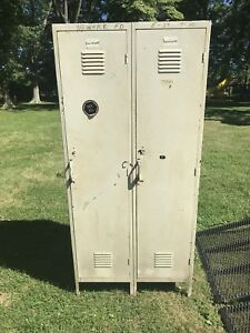 Vintage Double Locker 2 Single Side By Side Metal Storage White