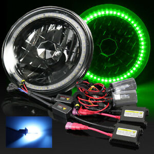 7 Inch Round Par56 Black Crystal Green Smd Halo Diamond Headlights 10000k Hid