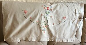 Vintage Sofa Back Mid Century Linen Silk Pink Floral Tapestry Embroidery Settee